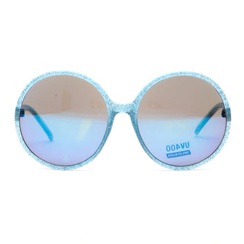 Blue Glitter Piped Round Frame Sunglasses