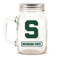 Michigan State Spartans NCAA Mason Jar Glass With Lid