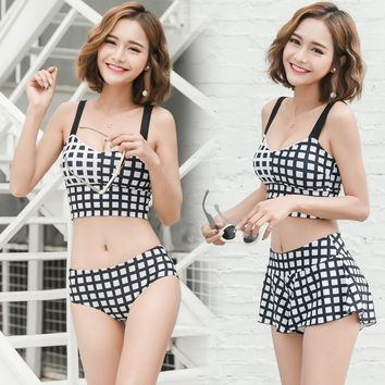 2018 New Ladies Three Pieces Bikinis Sets Swimsuit Plaid Skirt Women Bathing Suit Swimming Beach Wear Swim Suits Swimwear