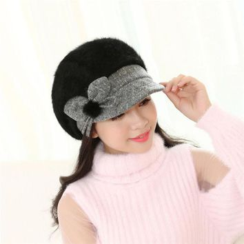 DCCKJG2 2016 Fashion Autumn & Winter Beanies Knit Hats For Women Cashmere Velvet Warm Beaded Pearl Ladies Female Beret Bonnets