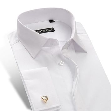 Men's Long Sleeve Slim Fit French Cuff Dress Shirt Comfortable Twill Solid Formal Tuxedo Top Shirts(Cufflinks Included Randomly)