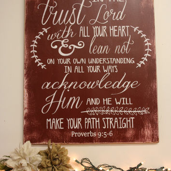 Trust In The Lord Wood Sign Christian Wall Art Religious Wall Sign Inspirational Wall Art Handpainted Sign Handmade Sign Scripture Sign