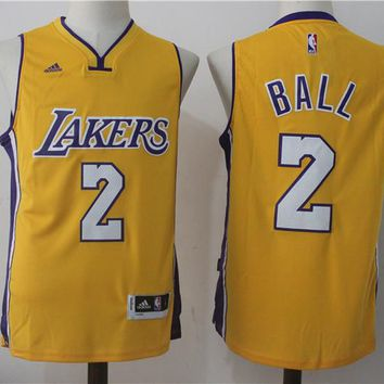 NWT Lonzo Ball No.2 Los Angeles Lakers Yellow Stitched Men Jersey