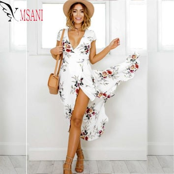 2017 Floral Print Ruffles Chiffon Maxi Dresses Strap V Neck Split Beach Summer Dress Sexy Backless Women Long Vestidos