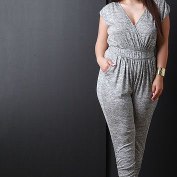 Marled Knit Surplice Ruched Jumpsuit