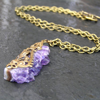 Delicate Amethyst Necklace, Druzy Necklace, Raw Stone Necklace, Amethyst Jewelry, February Birthstone, Gemstone Jewelry, Birthstone Jewelry