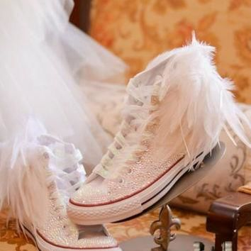 The Ultimate Rhinestone Converse Feather Converse for Bride Prom Quince?era Wedding Ba