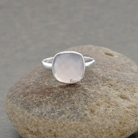 Gemstone Ring, Pink Chalcedony 10mm Cushion Faceted Gemstone Silver Ring Jewelry - #1168