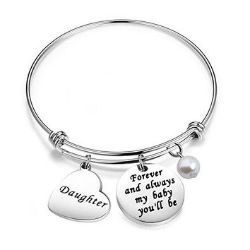 Gzrlyf Daughter Charm Bracelet Daughter Jewelry Forever And Always My Baby Youll Be Bracelet Daughter Birthday Gift