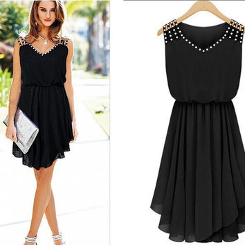 New Arrival Chiffon Women's Fashion V-neck Female One Piece Dress = 5826235521