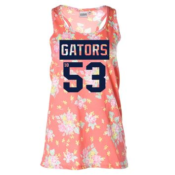 Official NCAA University of Florida Gators The Orange and Blue GATOR NATION! Women's Floral Racerback Tank Top