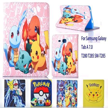 Case For Samsung Galaxy Tab A 7.0 T280 T285 SM-T285 case  Go cute Pikachu tablet Cover Flip stand shell coque paraKawaii Pokemon go  AT_89_9