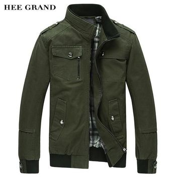 HEE GRAND Men's Jacket 2017 Hot Sale Whole Cotton Casual Stand Collar Autumn Outwear With Special Pocket Plus Size M-4XL MWJ2027
