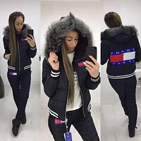 Tommy Hilfiger  Winter Fashion Women Hoodie Top Sweater Trousers Two-Piece Down jacket