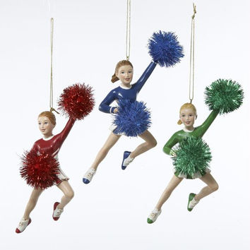 12 Christmas Ornaments - Cheerleaders Holding Pom Poms