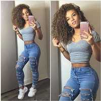 Streetwear big ripped high waisted washed skinny jeans denim full length pencil pants jegging leggings plus size woman women 227