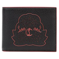 Wiberlux Christian Louboutin Men's Perforated Logo Detail Real Leather Wallet
