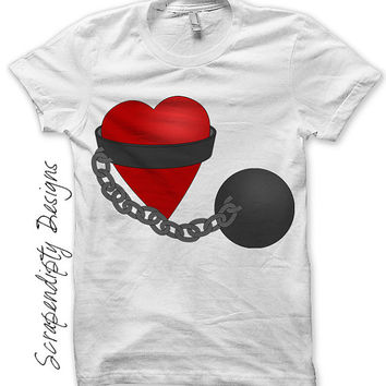 Iron on Ball and Chain Shirt PDF - Marriage Iron on Transfer / Bachelorette Party Shirt / Funny Wedding / Red Heart Womens TShirt IT346-C
