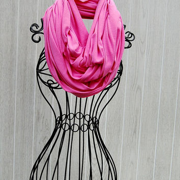 Spring Pink Bubble Gum Wide Cotton Jersey Knit INFINITY SCARF-Spring Scarf-Loop Scarf by The Accessories Nook