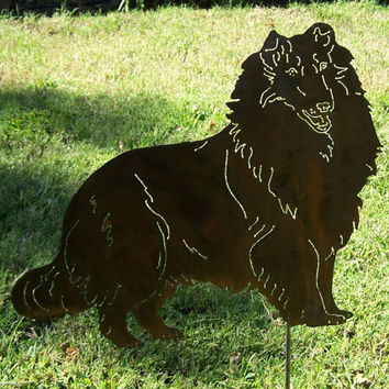 Rough Collie garden Stake metal yard art sculpture memorial pet marker