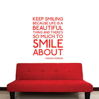 Wall Decal Vinyl Sticker Decals Art Decor Design Sign Keep Smile Monroe Inspire Words Quote Modern Dorm Bedroom Fashion Style (r427)