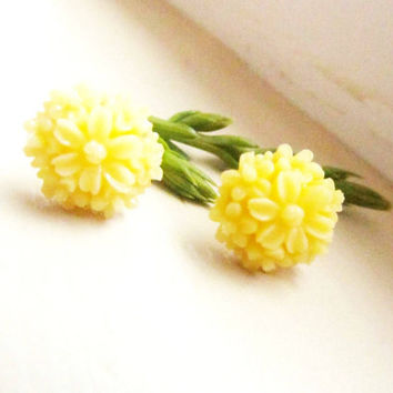 yellow clustered Floral Stud Earrings -Flower Earring Post- Great gift for the holiday  4tasteofshabbychic