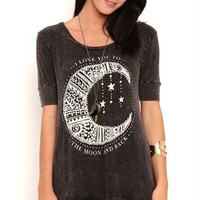 Mineral Wash High Low Tunic with Elbow Sleeves and Moon Screen