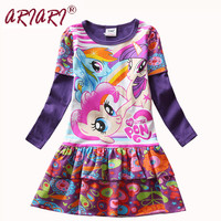 Hot Sale Long Sleeve Girl's Cartoon Dress Adorable My Girl Little Pony Dresses Children Cotton Birthday Party Dress Kids Clothes