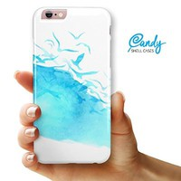 """Abstract Blue Watercolor Seagull Swarm iPhone 6 & iPhone 6s (4.7"""" iPhone) Ultra Gloss Candy Shell Case"""