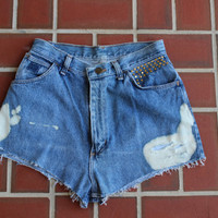 Ripped studded denim high waisted shorts