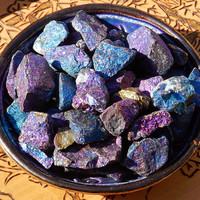 Chalcopyrite Peacock Ore . Set of 2 . Intuition, Positive Energy Flows, Dissolves Negativity