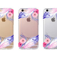iPhone 6s Case - Violet Feather - iPhone 6s case, iPhone 6 case, iPhone 6+ case - Clear Flexible Rubber TPU case J26