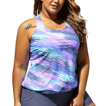 Plus Size Bluish Print Blouson Tankini Swimsuit with Grey Board Shorts