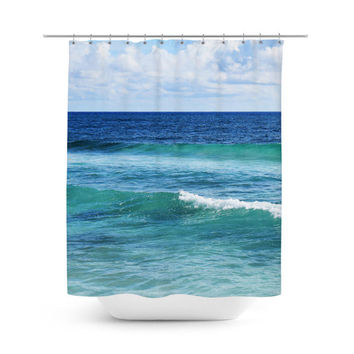 Quintana Roo - Shower Curtain, Blue and Green Coastal Ocean Waves, Beach Surf Seascape Hanging Bath Tub Decor Backdrop Accent Curtain. 71x74