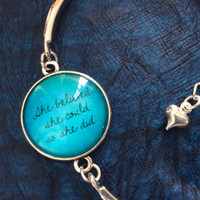 She Believed She Could So She Did Silver Cuff Bracelet One Size Fits all Quote Trendy Gift Graduation