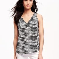 Patterned V-Neck Cut-Out Tank for Women