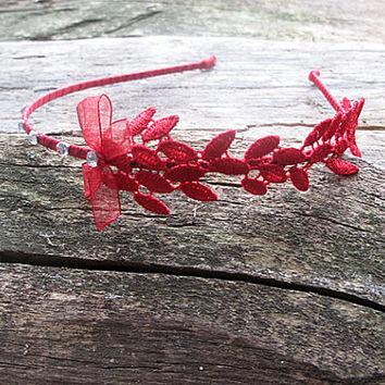Wedding Tiara Headband, Red Lace rhinestone Bridal Tiara Headband, Flower girl, Wedding Hair Accessories