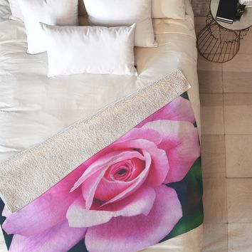 Allyson Johnson Darling Pink Rose Fleece Throw Blanket
