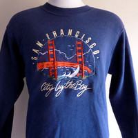 vintage 80's 90's San Francisco City by the Bay Golden Gate Bridge yacht boat ocean embroidered graphic sweatshirt crew neck fleece pullover