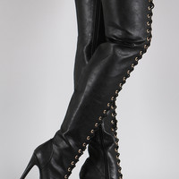 Dollhouse Vegan Leather Lace Up Peep Toe Stiletto Thigh High Boots
