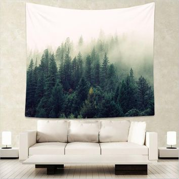 Forest Scenery Tapestry Wall Hanging Sandy Beach Picnic Throw Rug Blanket Camping Tent Travel Mattress Sleeping Pad WE
