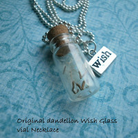 Original Glass vial bottle Dandelion seed WISH Necklace