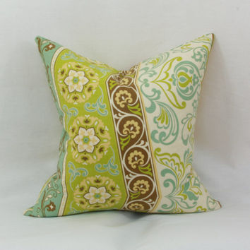 "Green & blue decorative throw pillow cover. 18"" x 18"" pillow cover. Waverly Picturesque pillow cover."