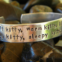 Big Bang Theory bracelet  Soft kitty warm by PurplePelicanDesigns
