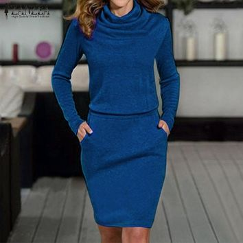 Newest ZANZEA Women Dress 2018 Autumn Sexy Turtleneck Long Sleeve Pencil Party Dresses Casual Slim Solid Bodycon Vestidos