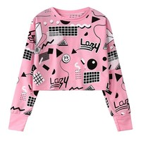 MERRY PRETTY New Harajuku Style Fall Women Printed Short Sweatshirts Long Sleeve Geometry Printed Hoodies Hip Hop Pink Crop Tops