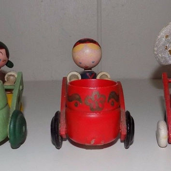 Set of Three Wooden Dutch Girls Women Wheelbarrow Wagons