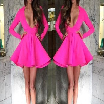 Rose Carmine Pleated Long Sleeve Deep V-neck Tutu Prom Evening Party Mini Dress