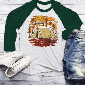 Men's Happy Camper T Shirt Fall Camping Camp Tent Illustration Forest Graphic Tee 3/4 Sleeve Raglan