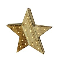 "15.5"" Luxury Lodge LED Lighted Country Rustic Natural Wooden Star Christmas Decoration"